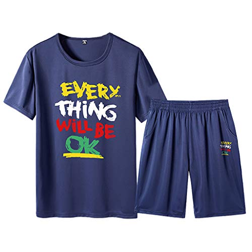 - 2019 Tracksuit for Men,NEWONESUN Short Sleeve T-Shirt with Shorts Loungewear for Men Mens Pjs Big and Tall
