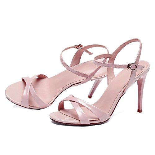 Catxac Calaier Buckle Stiletto Open Rosa Toe 9CM Sandalias Mujer Zapatos 5rxqrwH