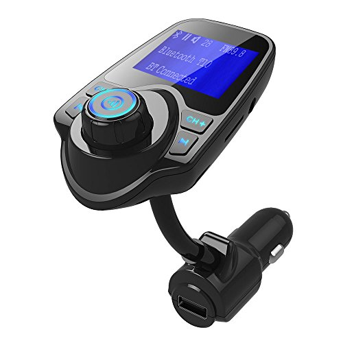 drunkilk Wireless In-Car Bluetooth FM Transmitter Radio Adapter Car Kit W 1.44 Inch LCD Display Supports TF/SD Card Slot USB Car Charger for Smartphones ()