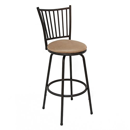 Adeco 2016 New Euro Style, Black Frame, Beige Seat Metal Bar Stool Barstool, for