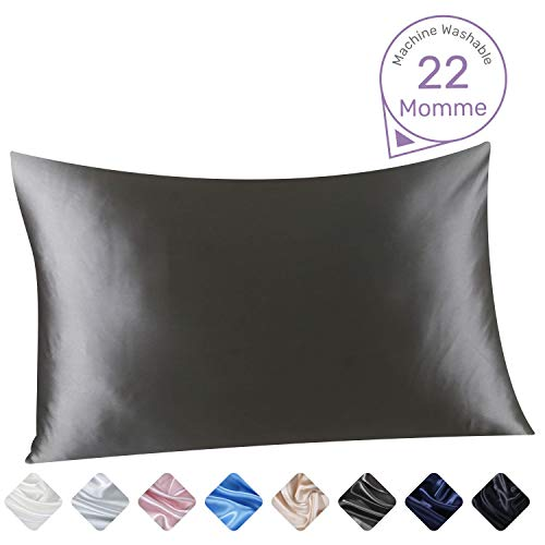 Grey Silk Pillowcase Queen-Size - 20 x 30 Inch Durable 22 Momme 100% Mulberry Silk Pillow Cover, Shrink Resistant Machine Washable Zippered Pillow ShamSleep - Silk 30 Inch