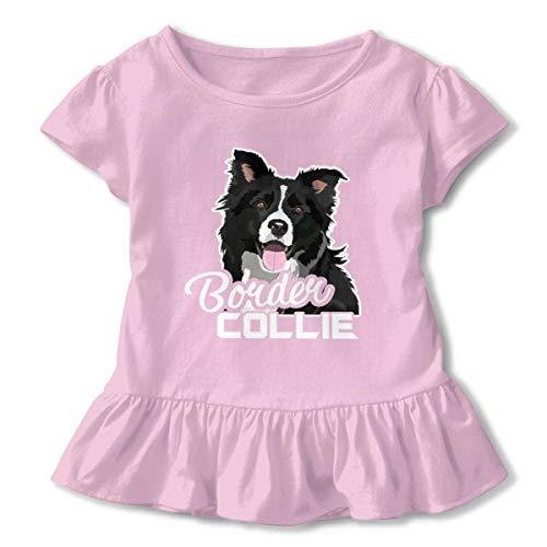 (sport outdoor 003 Lovely Border Collie Ruffled Shirt Short Sleeve Child Birthday Gift 2-6T)