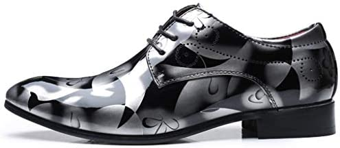 Pu Leather Glossy British Style Print Pointed Modern Trend Men S
