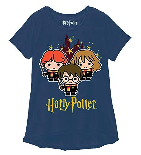 Harry Potter Youth Girls Fashion Top Hogwarts Stars Navy (Medium) (Harry Potter T Shirt Kids)