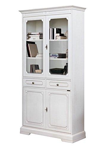 Arteferretto Vetrina libreria classica in legno con 2 ante in vetro ...