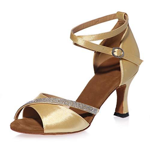 (Peep Toe Cross Strap Rhinestones Women's Social Tango Ballroom Latin Modern Dance Shoes Wedding Party Sandals,Gold(Heel:5cm),37EU)