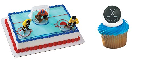 Hockey Face Off Cake Topper & 12 Pack Hockey Puck Cupcake -