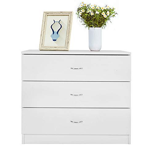 SSLine 3-Drawer Dresser White Chest of Drawer Wood Cabinet for Clothes Cosmetic Storage Chest Organizer Modern Night Stand Bedside Table for Living Room Bedroom (Three White Drawer Chest)