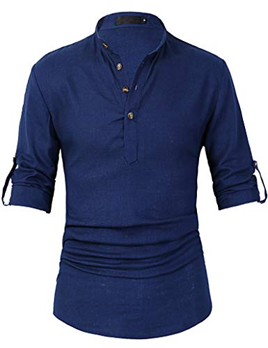 Leisurely Pace Roll up Long Sleeve Linen Banded Collar Slim fit Henley Shirts for Men (30BL, 3XL) Blue