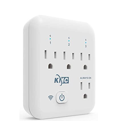 KMC 4 Outlet WiFi Smart Plug Energy Monitoring Smart Outlet, Remote Control  Wall Surge Protector, No Hub Required, Works Amazon Alexa/Google