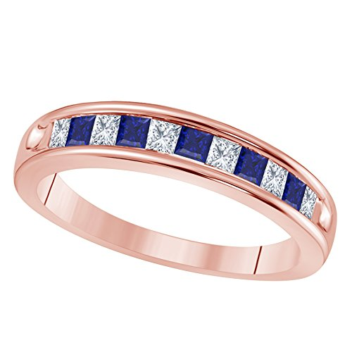DS Jewels Unisex Wedding Band 14K Gold Plated in Alloy 0.50tcw Princess Cut Created Blue Sapphire & Cubic Zirconia Channel-Set Engagement Ring Size 4 to 11