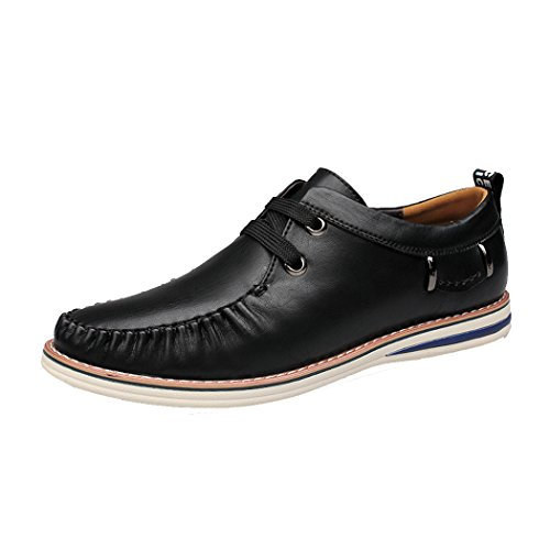 Sun Lorence Mens New Fashion Manual Suture Lace-up Loafers Shoes Casual Italian Leather Board Sneakers Black 6x9q2