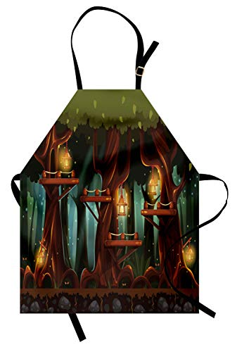 Ambesonne Firefly Apron, Fairy Forest Woodland with Lanterns and Insects Flashlights Artsy Night, Unisex Kitchen Bib Apron with Adjustable Neck for Cooking Baking Gardening, Olive Green -