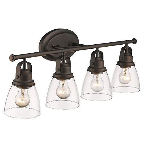 Zeyu 4-Light Vanity Lights, Vintage Bathroom Lighting Fixture 30 Inch, Oil Rubbed Bronze Finish with Clear Glass Shade…