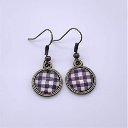 Black and White Buffalo Plaid Glass Dangle Earrings