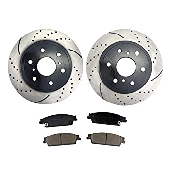 Image of Atmansta QPD10054 Rear Brake kit with Drilled/Slotted Rotors and Ceramic Brake pads for Cadillac Escalade Chevrolet Avalanche GMC Yukon Brake Kits