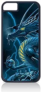 Dragon Holding Skulls- Case for the Apple Iphone 4-4s Universal-Hard Black Plastic Outer Shell with Inner Soft Black Rubber Lining
