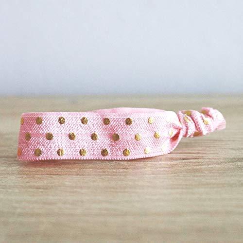 Idee Cadeau Evjf.Bracelet Elastique Rose A Pois Dores Evjf Idee Cadeau