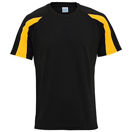 Mens Tee Just (Just Cool Mens Contrast Cool Sports Plain T-Shirt (XL) (Jet Black/Gold))