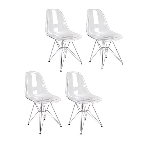 Mod Made Mid Century Paris Tower Transparent Ghost Side Chair Dining Chair, Clear, Set of 4 (Cheap Replica Chairs)