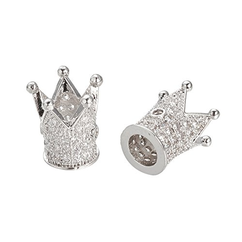 NBEADS 10PCS Cubic Zirconia Micro Pave King Crown Bracelet Connector Spacer Charm Beads Platinum Loose Beads for Bracelet Necklace DIY Jewelry Making Crafts Design