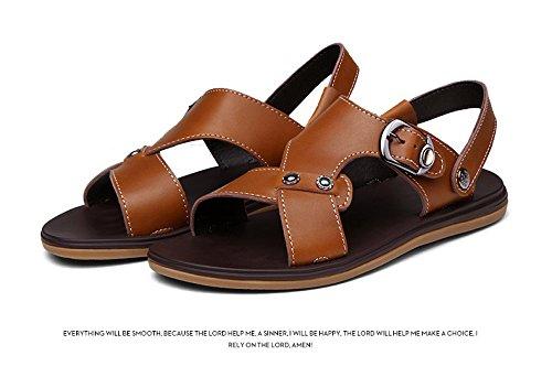 Sandali di estate dei nuovi sandali di estate i sandali degli uomini Due generi di metodo di usura Uomini Scarpe Grande formato, marrone, UK = 9, EU = 43