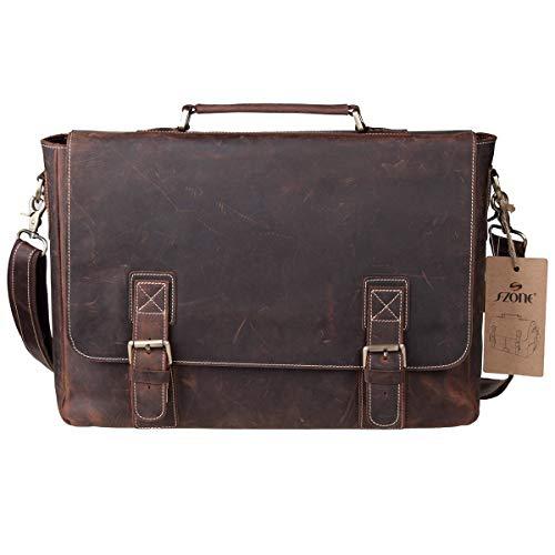 """S-ZONE Handmade Vintage Crazy Horse Leather 15.6"""" Laptop Briefcase Messenger Bag Shoulder Satchel Bag by S-ZONE (Image #1)"""