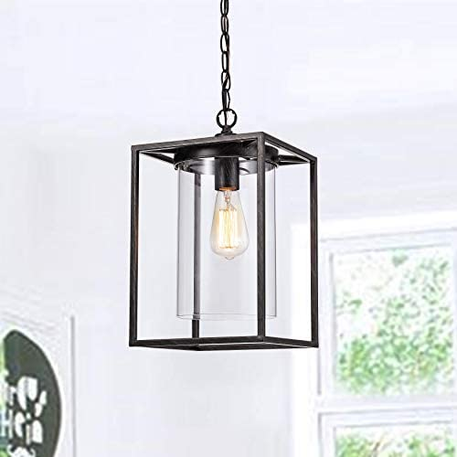 Farmhouse Chandelier Pendant Lamp Industrial Hanging Light with Black Finish for Dining Room,Foyer,Living Room. Dining Room 1-Lights