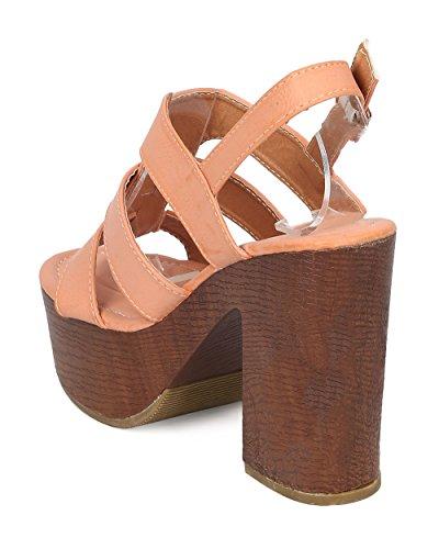 Alrisco Kvinnor Läder Blockera Häl Sandal - Peep Toe Remmar Plattform Blockera Häl Sandal - Ha46 Från Dammig Rosa Konstläder