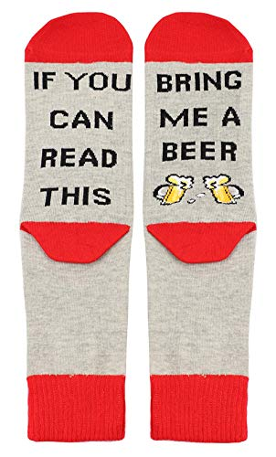 (If You Can Read This Novelty Funny Combed Cotton Crew Dress Beer Wine Socks for Women Men)
