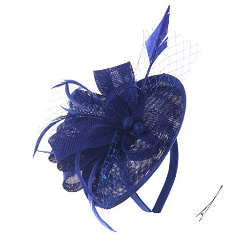 Felizhouse Fascinator Hats for Women Ladies Feather Cocktail Party Hats Bridal Headpieces Kentucky Derby Ascot Fascinator Headband (#2 Cambric Navy Blue)]()
