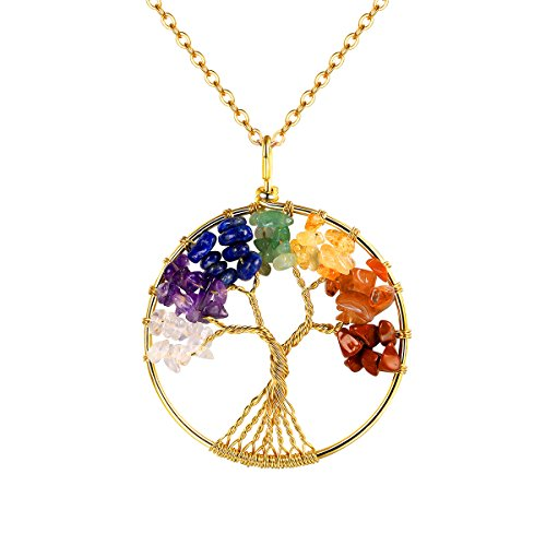FOCALOOK Four Seasons Tree of Life Pendant 18k Gold Plated 31.5 inches Stainless Steel Long Chain Wire Wrapped Wisdom Ancient Round Colorful Healing Crystal Tumbled Stone Gemstone Chakra Jewelry