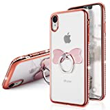 iPhone Xr Case,SQMCase Glitter Diamond Edge Clear Crystal Back Soft TPU Protective Case
