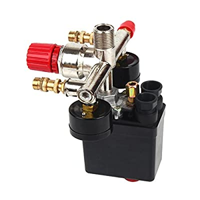 GLiving(TM) New Pressure Switch Manifold Regulator Gauges Air Compressor Pressure Switch Control Valve