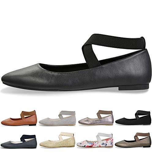 Women's Classic Round Toe Ballerina Walking Slip On Suede Flats - Comfortable Closed Toe Ballet (6-6.5 B(M) US/ CN38 / 9.4'', Black)