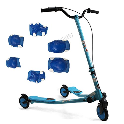 Kids 3 Wheel Swing Tri Slider Motion Winged Push Boys Scooter children blue