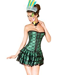 Burlesque Green Lace Overlay Fashion Corset & Skirt Set, Gift Idea