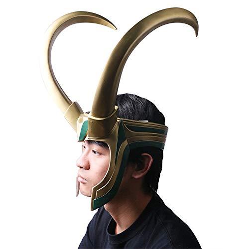 Loki Cosplay PVC Mask Loki Costume Helmet Horns Halloween Green Gold