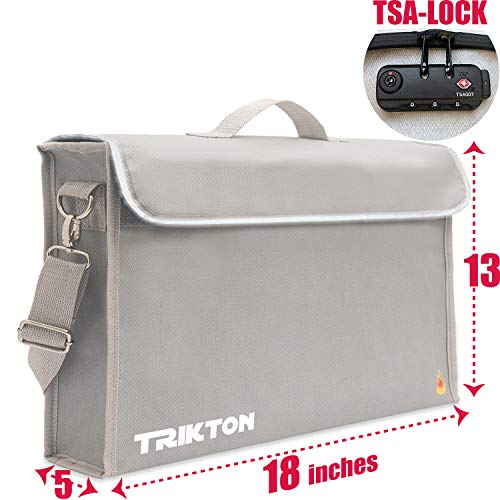 (Trikton Super Extra Large 18x13x5 Fireproof Safe Bag for Documents with Lock TSA, Holds Legal Size Files Without Bending, XXL Silver, Visible in The Dark, Lock Box for Documents, Fire Water Resistant )