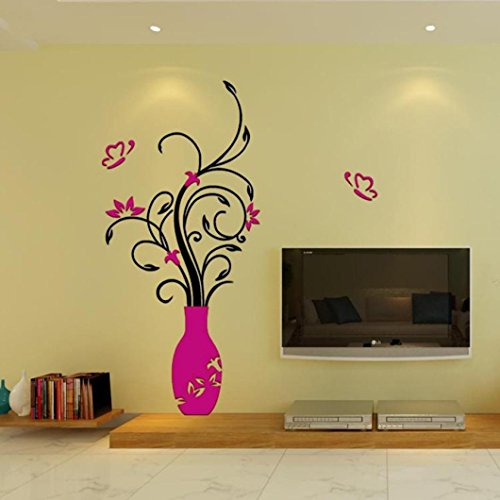Wall Sticker,Woail Vase Murals For Living Room Bedroom Sofa Backdrop Tv Wall Background Festive Party Decor 3D Decal Wallpaper (Hot Pink) (Festive Halloween Wallpapers)