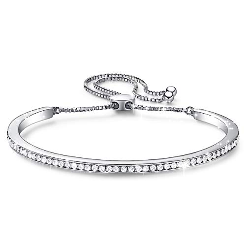 CDE Sterling Silver Women Bracelet Bangle with 73 CZ Stones, Simple Fashion Bracelet for Women Jewelry, Gift Fits 6-7.5 inch Wrists Gift for Mothers Day