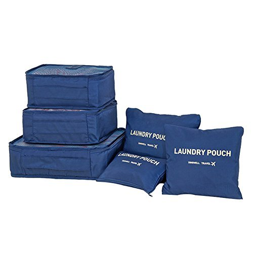6 Set Travel Organizer Luggage storage bag (D-blue)