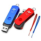 Upgrade 64GB USB 3.0 Flash Drive, 2 Pack 64 GB Thumb Drives with Led Light, High Speed 64gig Multipack Rotatable Jump Drive with Lanyards for Computer Backup Storage Zip Drives Memory Stick - Blue/Red