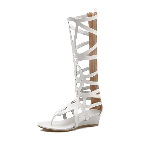 Amoonyfashion Mujeres Pu Solid Zipper Split Toe Low Heels Sandals Blanco