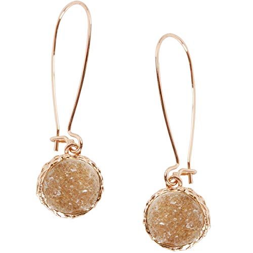 Humble Chic Simulated Druzy Threaders - Upside-Down Long Hoop Dangle Drop Earrings for Women, Simulated Quartzite, Champagne, Simulated Topaz, Nude, Gold-Tone ()