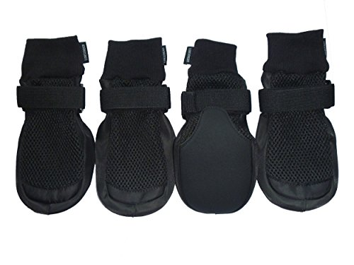Skid Dog Boots (LONSUNEER Paw Protector Dog Boots Breathable Nonslip and Soft Black Color Size M L XL (X-Large - Inner Sole Width 3.15