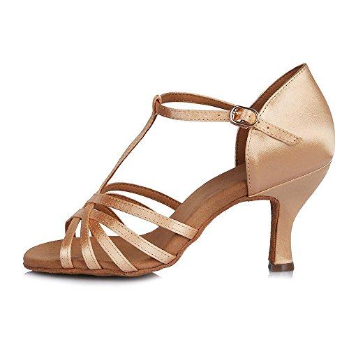 haut YFF Chaussures Fine Satin 65mm Les talon latine des semelles Mesdames de femmes Beige Tango souples danse Bal rgrqEvw