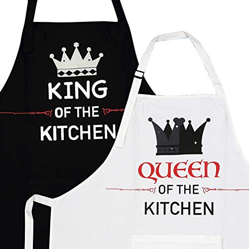 2-Piece Kitchen Apron Set - The King and Queen of The Kitchen - Matching Engagement Wedding Anniversary Bridal Shower Gifts for Bride