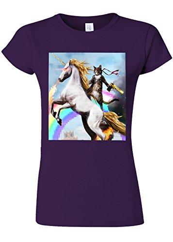 ギター論争的アーティファクトCrazy Cat Unicorn Rainbow Novelty Purple Women T Shirt Top-XL