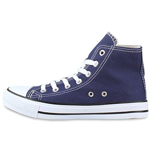 Damen Sneakers Muster Camouflage Damenschuhe Glitzer Turnschuhe Sneaker High Schuhe Flandell Marineblau
